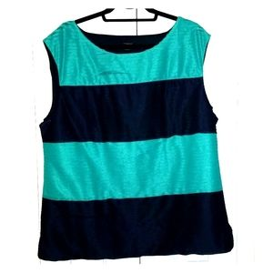 Ann Taylor XL Turquoise and Navy Sleeveless Blouse